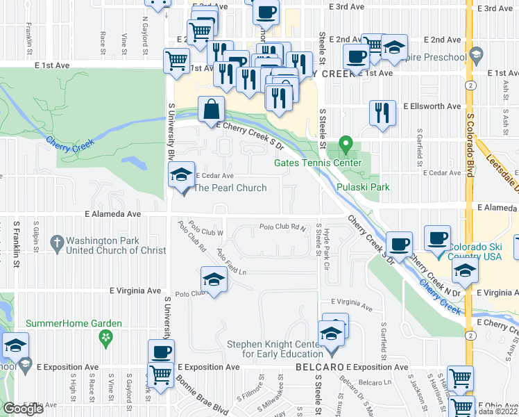 map of restaurants, bars, coffee shops, grocery stores, and more near 2895 East Alameda Avenue in Denver