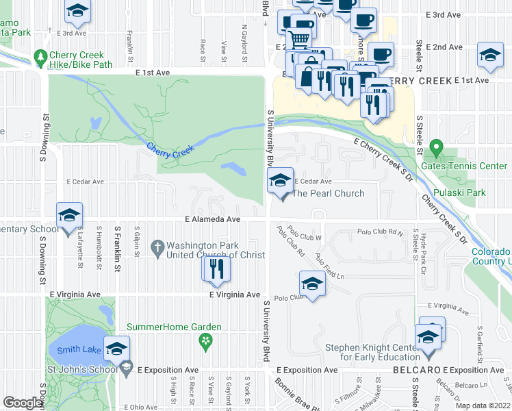 map of restaurants, bars, coffee shops, grocery stores, and more near 2303 East Alameda Avenue in Denver