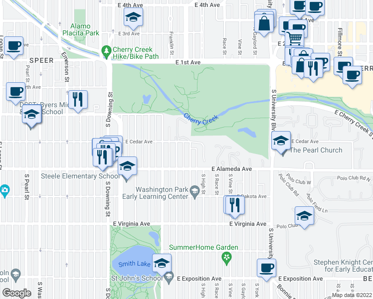 map of restaurants, bars, coffee shops, grocery stores, and more near 225 S Williams St in Denver