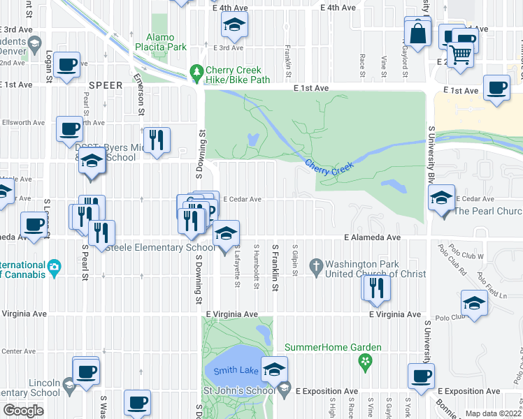 map of restaurants, bars, coffee shops, grocery stores, and more near 220 S Humboldt St in Denver