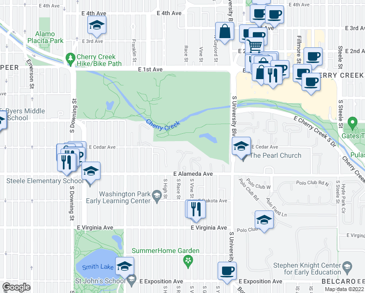 map of restaurants, bars, coffee shops, grocery stores, and more near 1991 East Alameda Avenue in Denver