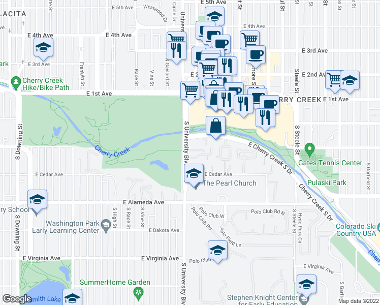 map of restaurants, bars, coffee shops, grocery stores, and more near 100 South University Boulevard in Denver