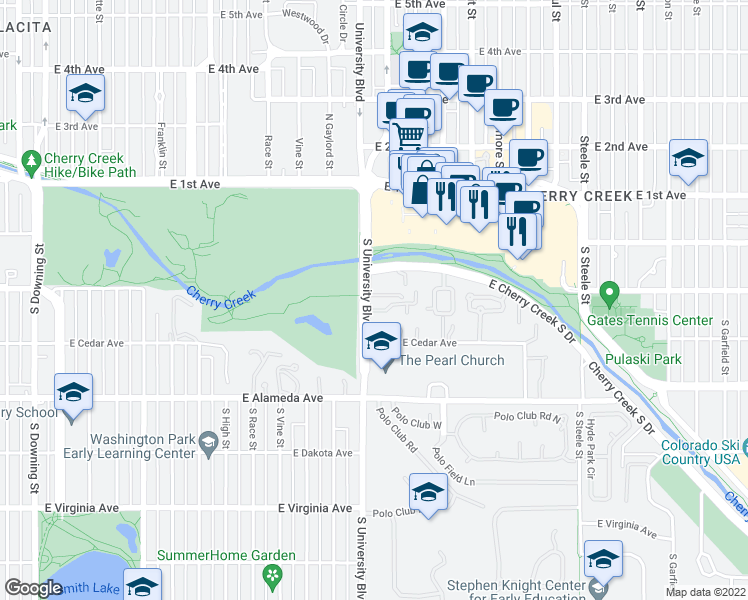 map of restaurants, bars, coffee shops, grocery stores, and more near 2439 South University Boulevard in Denver