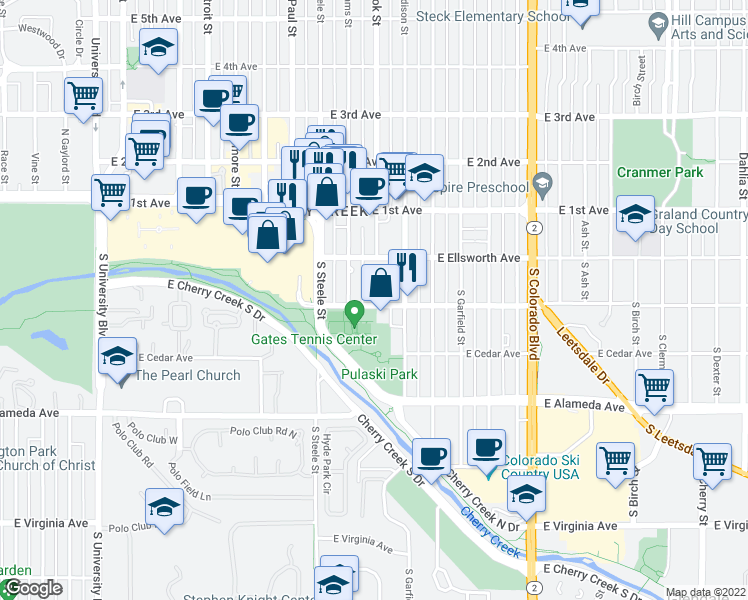 map of restaurants, bars, coffee shops, grocery stores, and more near 3498 East Ellsworth Avenue in Denver