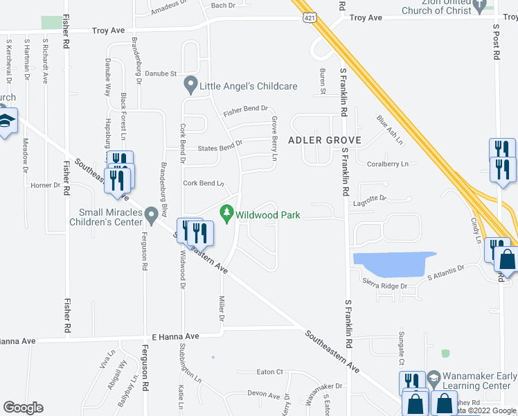 map of restaurants, bars, coffee shops, grocery stores, and more near 8122 Corktree Dr in Indianapolis