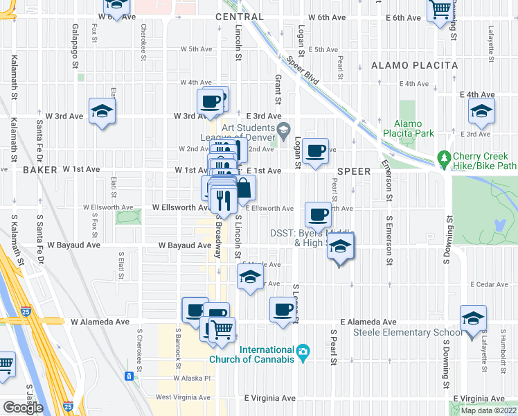 map of restaurants, bars, coffee shops, grocery stores, and more near East Ellsworth Avenue & Sherman Street in Denver