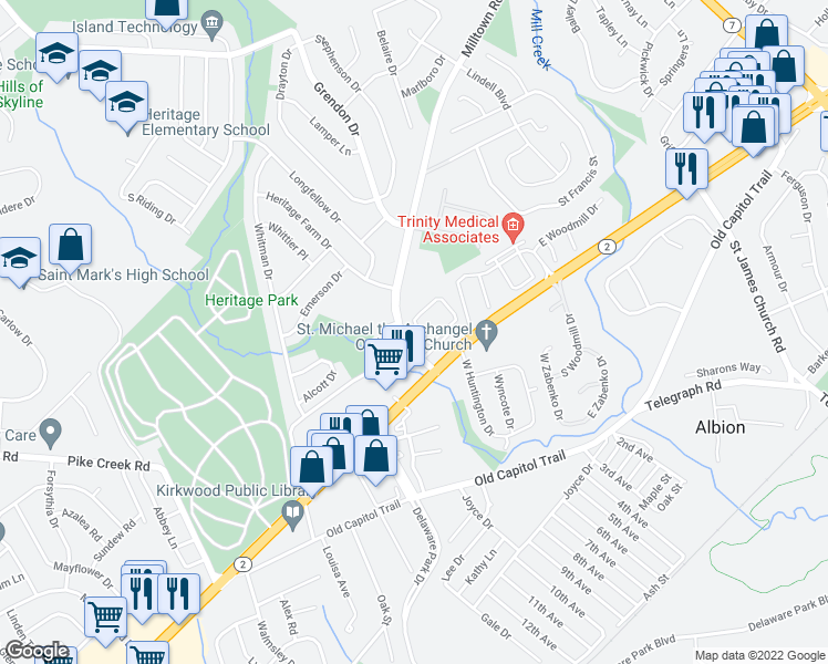 map of restaurants, bars, coffee shops, grocery stores, and more near 5597 Heritage Court Drive in Wilmington