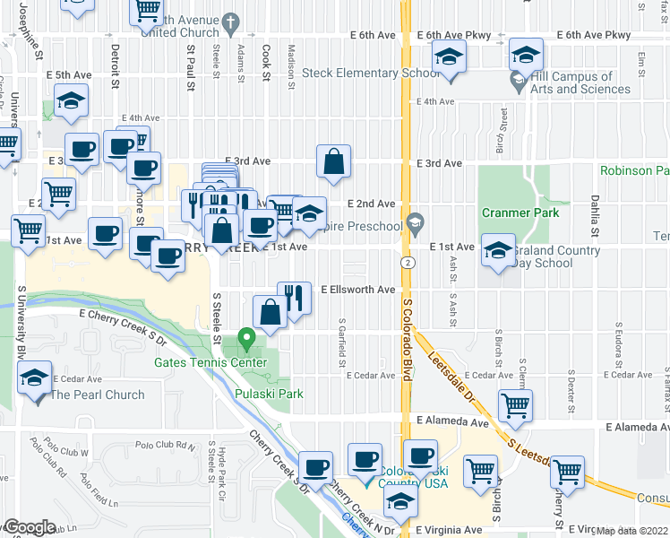 map of restaurants, bars, coffee shops, grocery stores, and more near 43 Garfield Street in Denver