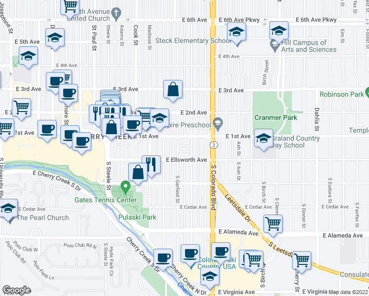 map of restaurants, bars, coffee shops, grocery stores, and more near 30 Garfield Street in Denver