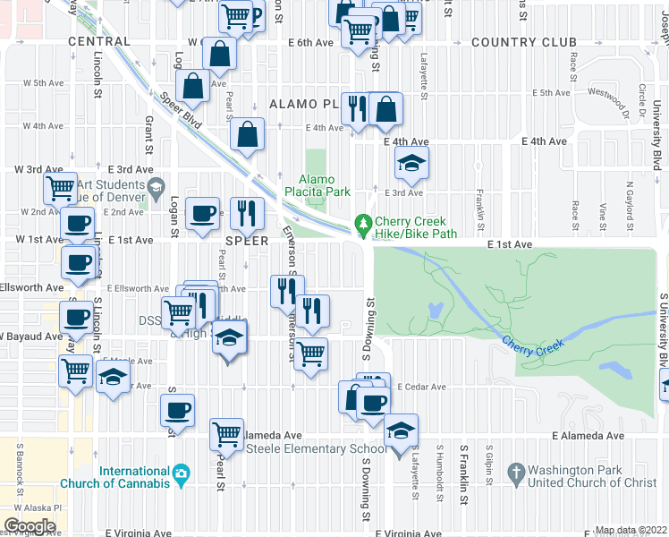 map of restaurants, bars, coffee shops, grocery stores, and more near 33 Corona Street in Denver