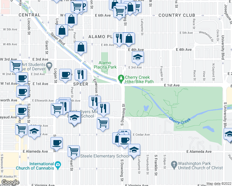 map of restaurants, bars, coffee shops, grocery stores, and more near 50 Corona Street in Denver