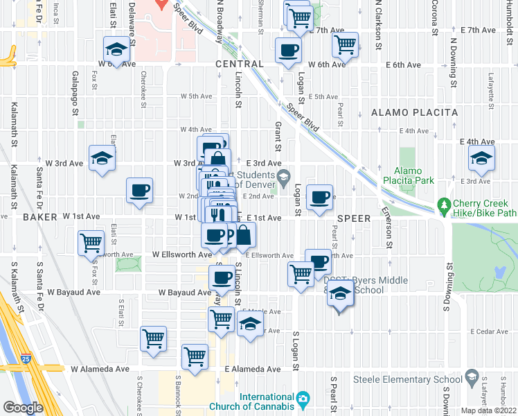 map of restaurants, bars, coffee shops, grocery stores, and more near 121 Sherman Street in Denver
