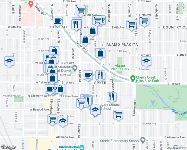 map of restaurants, bars, coffee shops, grocery stores, and more near East 2nd Avenue & Pearl Street in Denver