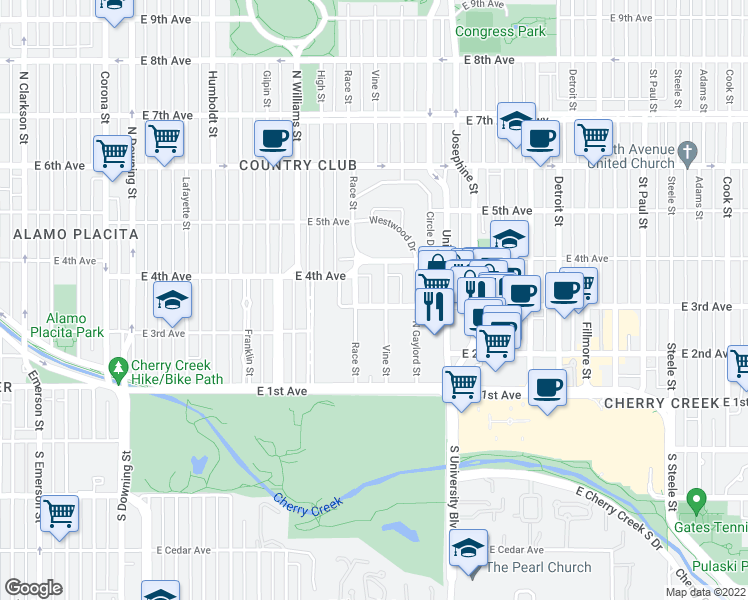 map of restaurants, bars, coffee shops, grocery stores, and more near 2023 East 3rd Avenue in Denver