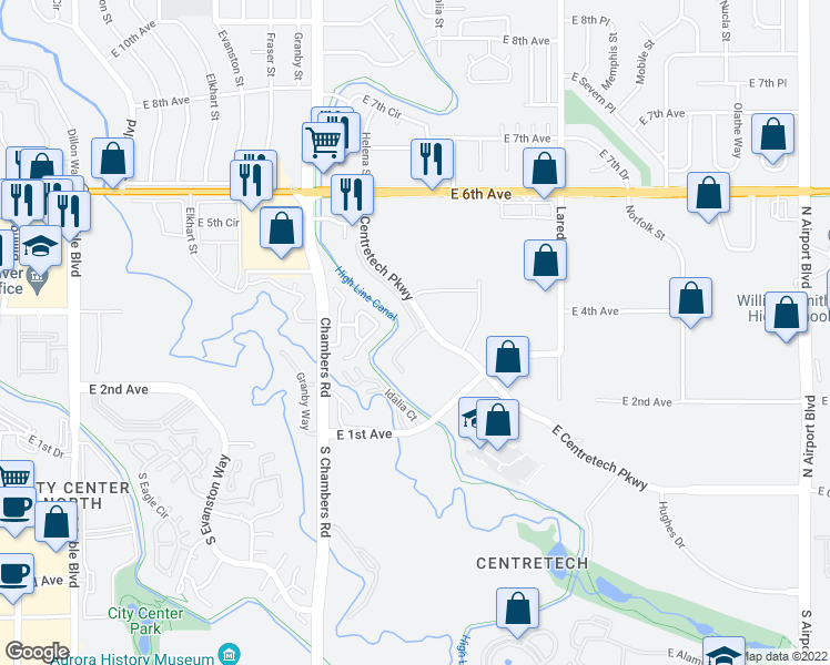 map of restaurants, bars, coffee shops, grocery stores, and more near 461-469 North Helena Court in Aurora