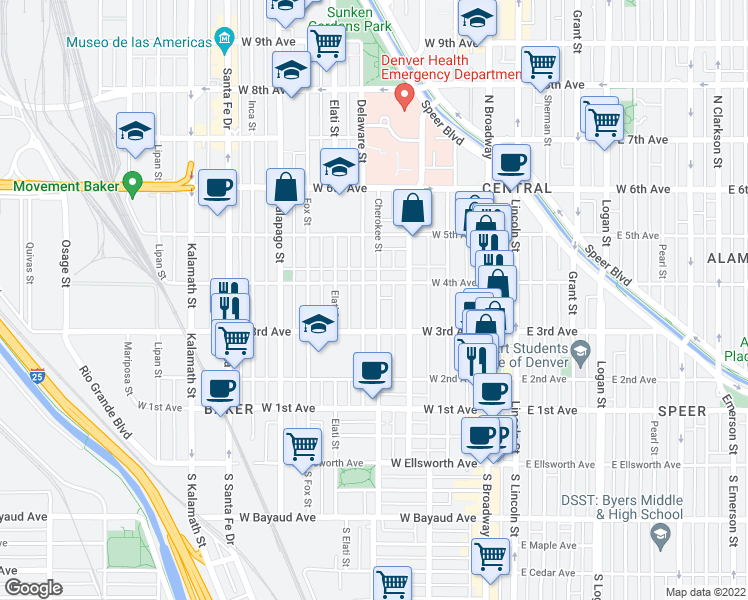map of restaurants, bars, coffee shops, grocery stores, and more near 353 C
