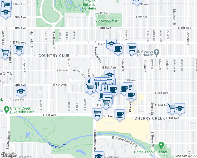 map of restaurants, bars, coffee shops, grocery stores, and more near 2395 East 4th Avenue in Denver