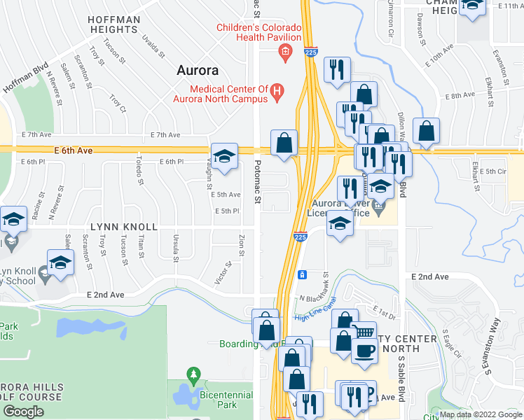 map of restaurants, bars, coffee shops, grocery stores, and more near 13727-13757 E 4th Ave in Aurora