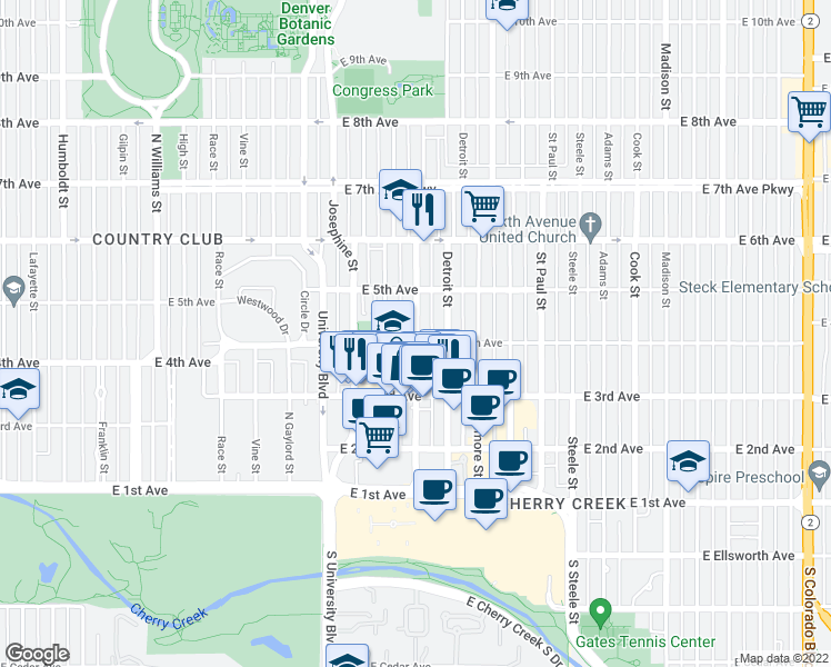 map of restaurants, bars, coffee shops, grocery stores, and more near Clayton Street in Denver