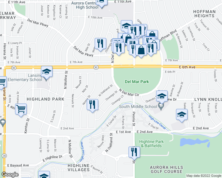 map of restaurants, bars, coffee shops, grocery stores, and more near 488 Oakland St in Aurora