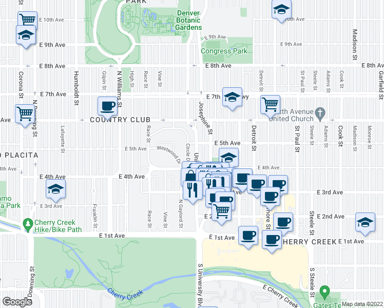 map of restaurants, bars, coffee shops, grocery stores, and more near 450 Circle Drive in Denver