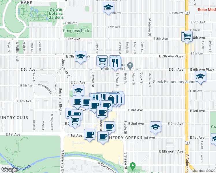 map of restaurants, bars, coffee shops, grocery stores, and more near 473 Milwaukee Street in Denver