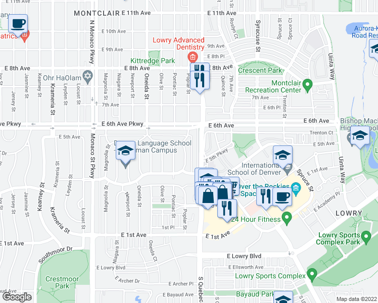 map of restaurants, bars, coffee shops, grocery stores, and more near 464 Poplar Street in Denver