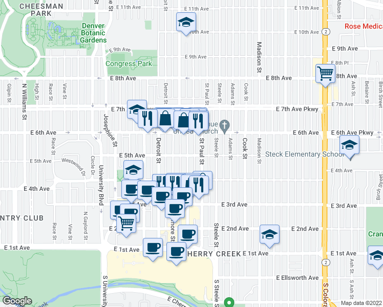 map of restaurants, bars, coffee shops, grocery stores, and more near 3033 East 5th Avenue in Denver