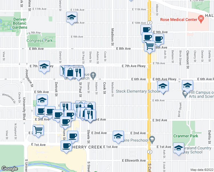 map of restaurants, bars, coffee shops, grocery stores, and more near 532 Cook Street in Denver
