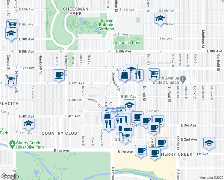 map of restaurants, bars, coffee shops, grocery stores, and more near 526 University Blvd in Denver