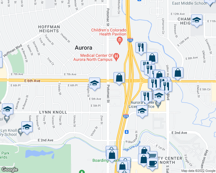 map of restaurants, bars, coffee shops, grocery stores, and more near 560 Zion Street in Aurora