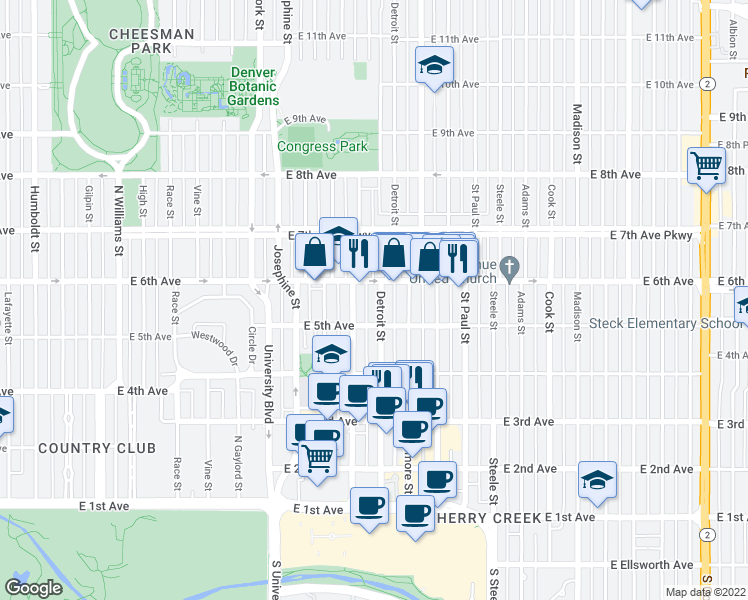 map of restaurants, bars, coffee shops, grocery stores, and more near 545 Detroit Street in Denver