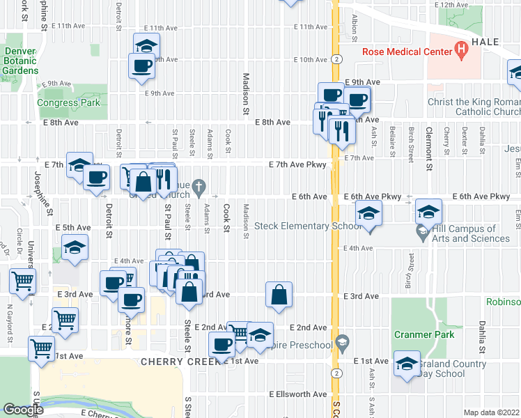 map of restaurants, bars, coffee shops, grocery stores, and more near 545 Monroe Street in Denver