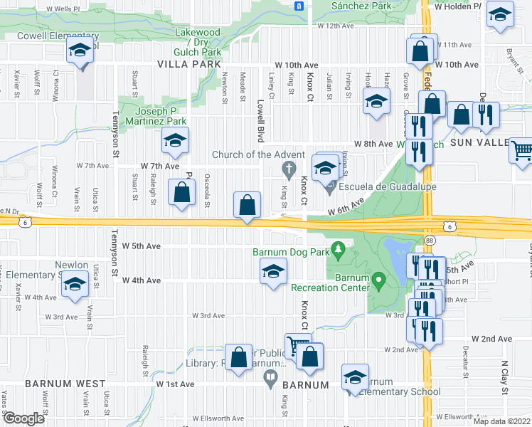 map of restaurants, bars, coffee shops, grocery stores, and more near 610 Lowell Boulevard in Denver