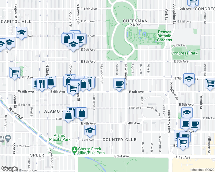 map of restaurants, bars, coffee shops, grocery stores, and more near 637 Franklin Street in Denver