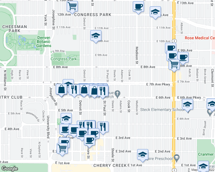 map of restaurants, bars, coffee shops, grocery stores, and more near 3100 East 7th Avenue Parkway in Denver