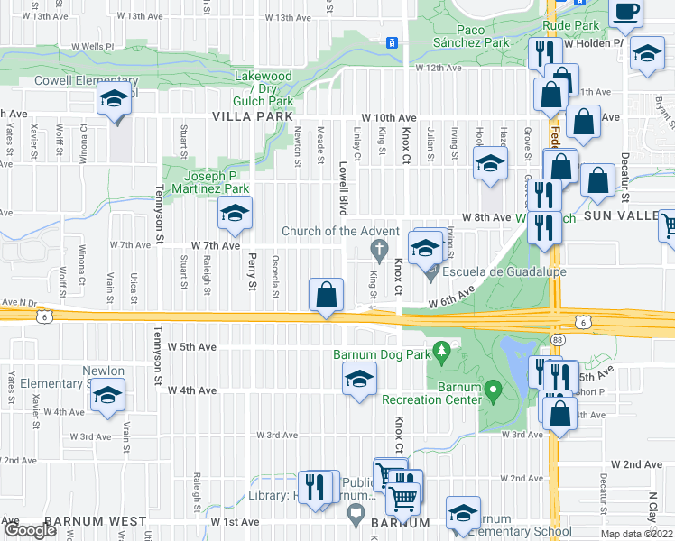 map of restaurants, bars, coffee shops, grocery stores, and more near 645 Lowell Boulevard in Denver