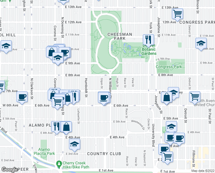 map of restaurants, bars, coffee shops, grocery stores, and more near 725 Williams Street in Denver