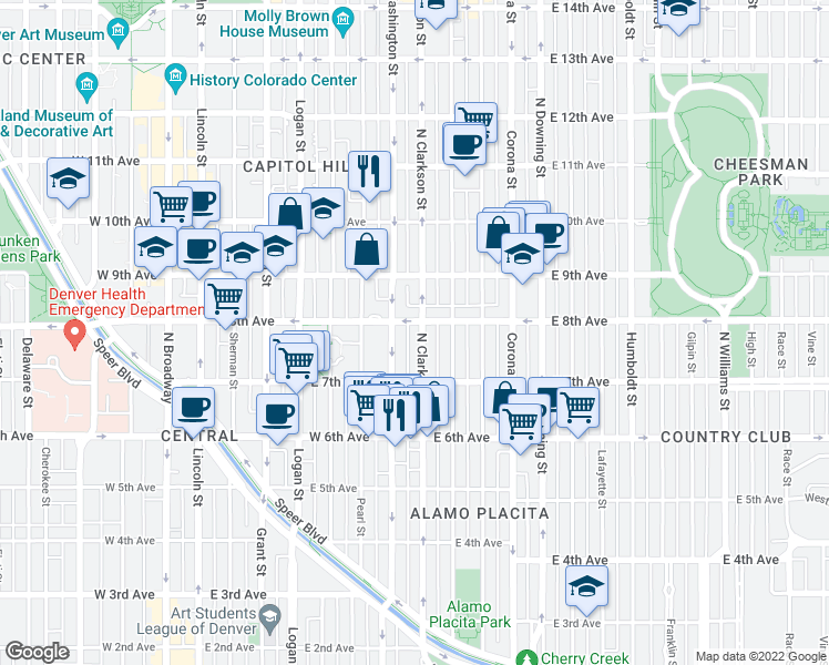 map of restaurants, bars, coffee shops, grocery stores, and more near 789 Clarkson Street in Denver