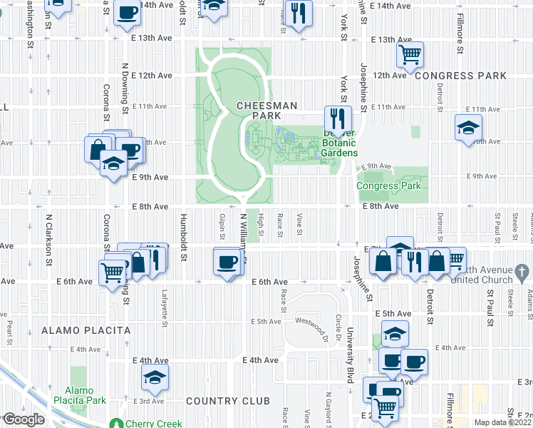 map of restaurants, bars, coffee shops, grocery stores, and more near 770 High Street in Denver