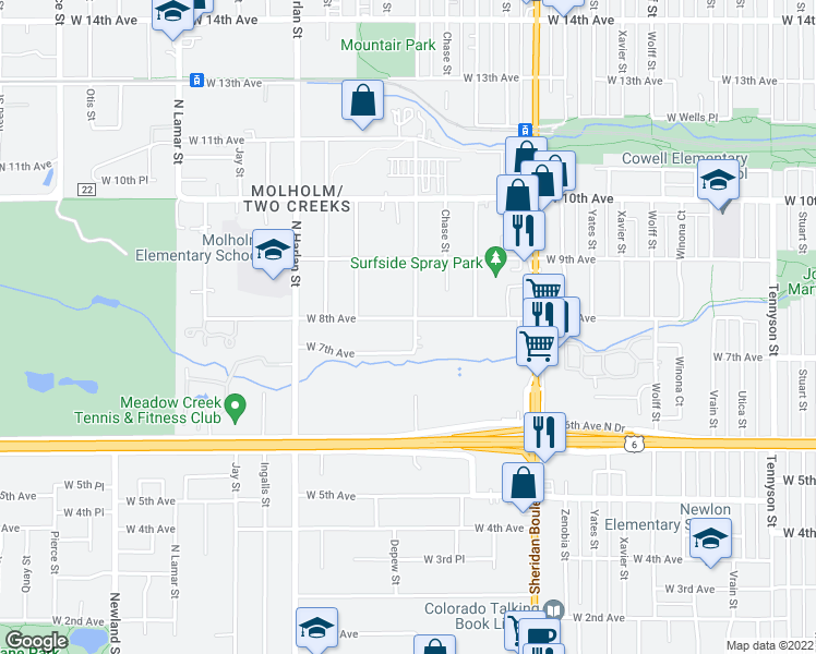 map of restaurants, bars, coffee shops, grocery stores, and more near 795 Depew St in Denver