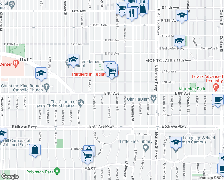 map of restaurants, bars, coffee shops, grocery stores, and more near 810 Jersey St in Denver