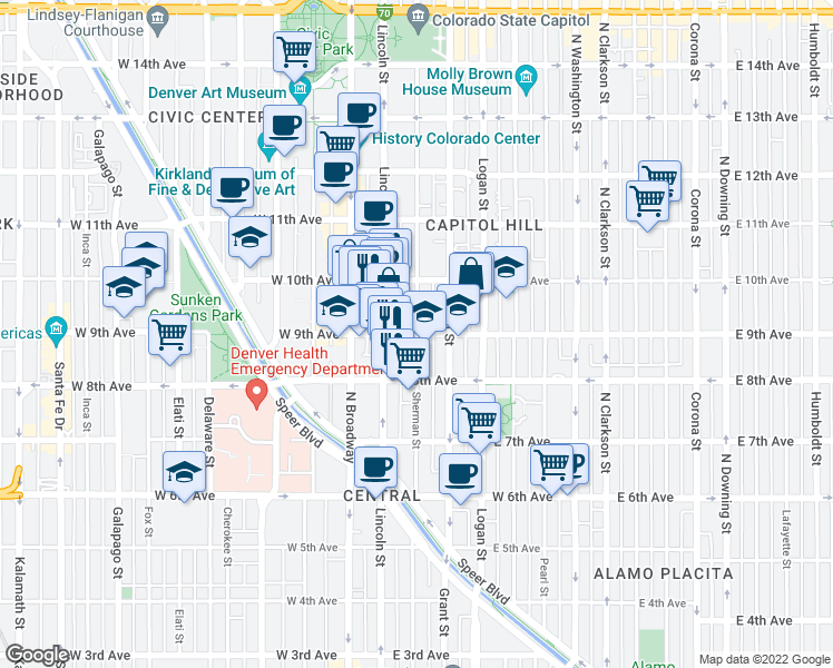 map of restaurants, bars, coffee shops, grocery stores, and more near East 9th Avenue & Sherman Street in Denver