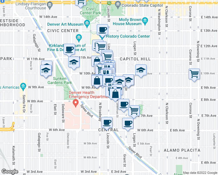 map of restaurants, bars, coffee shops, grocery stores, and more near East 9th Avenue & Lincoln Street in Denver