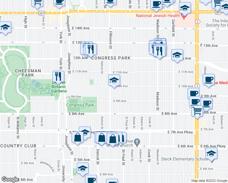 map of restaurants, bars, coffee shops, grocery stores, and more near 2950-2998 East 10th Avenue in Denver