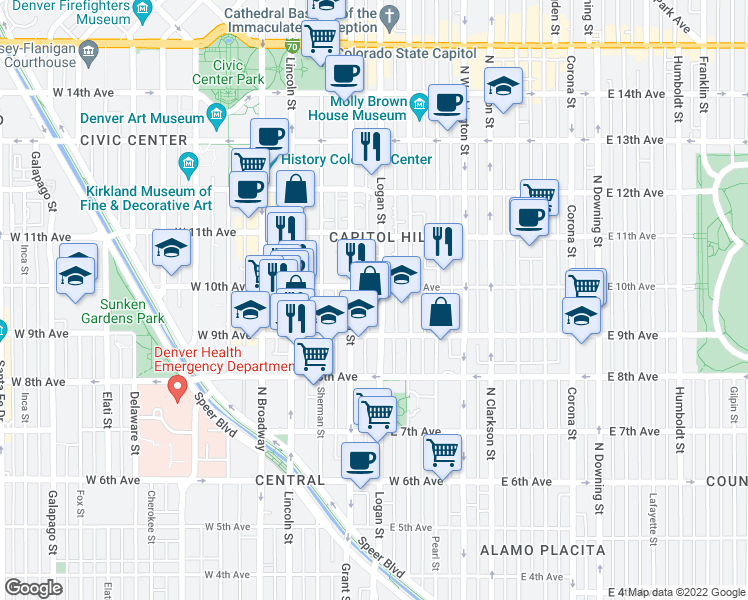 map of restaurants, bars, coffee shops, grocery stores, and more near in Denver