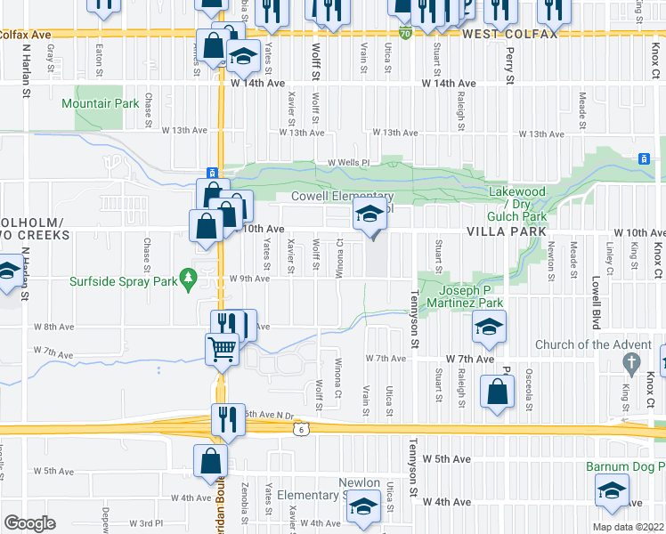 map of restaurants, bars, coffee shops, grocery stores, and more near 911 Winona Court in Denver