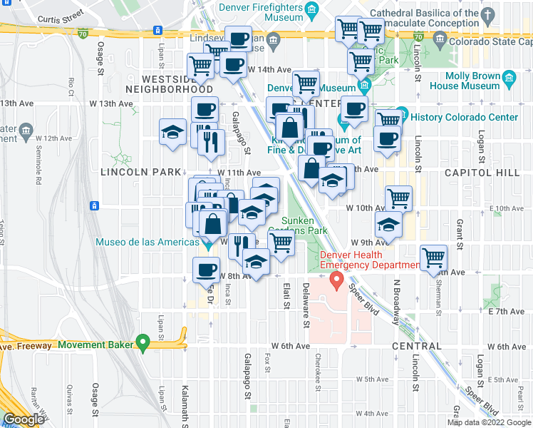 map of restaurants, bars, coffee shops, grocery stores, and more near 982-998 Galapago Street in Denver