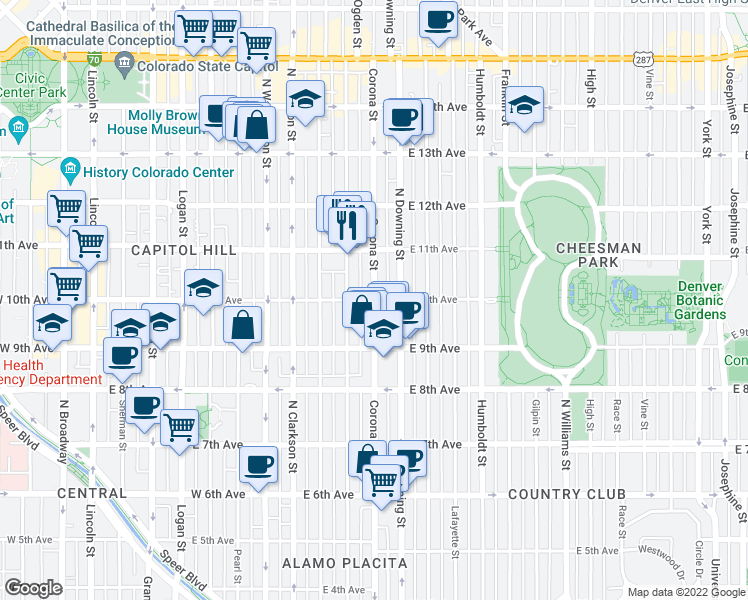 map of restaurants, bars, coffee shops, grocery stores, and more near East 10th Avenue & Corona Street in Denver