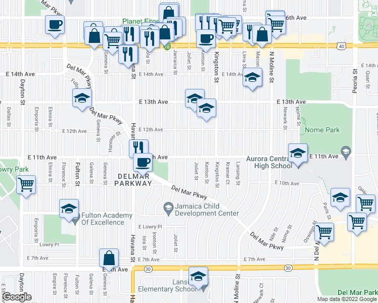 map of restaurants, bars, coffee shops, grocery stores, and more near 1110 Joliet St in Aurora